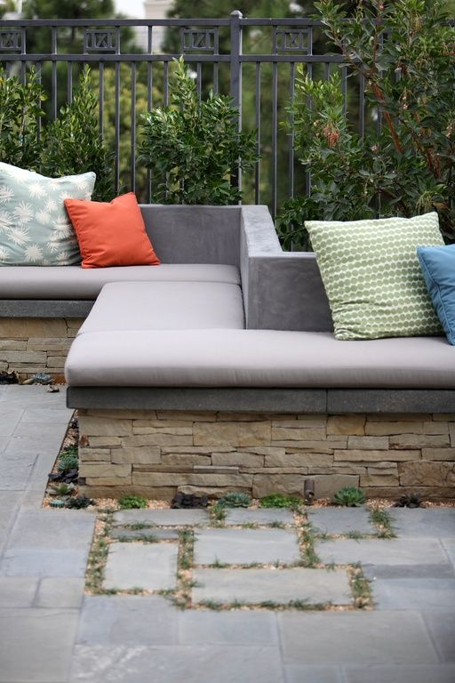 Modern Patio With Laurie Bell Outdoor Bench Cushion, Fence, Pathway,  Concrete Wall,