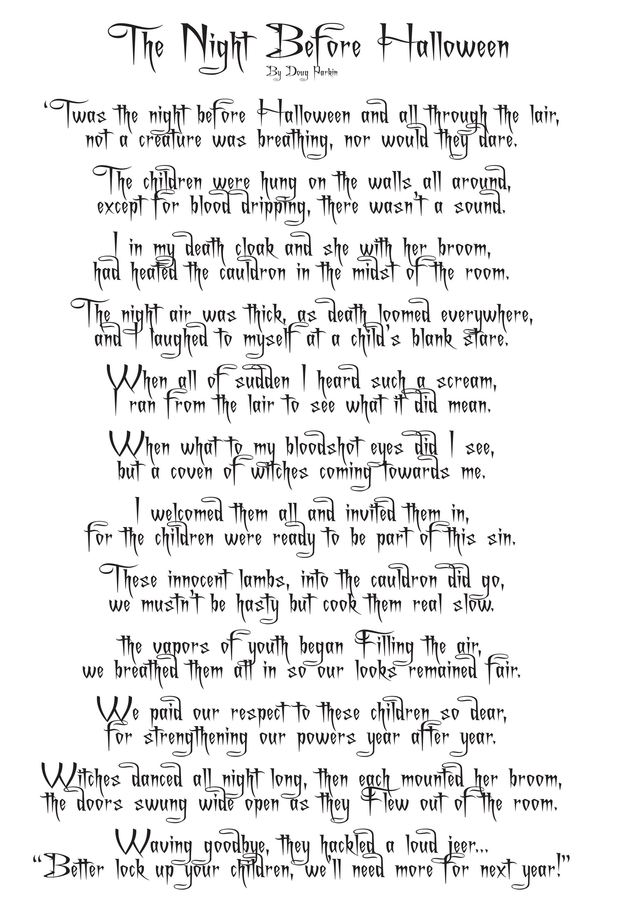 An Original Halloween Poem Offered Free To Visitors At