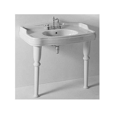 Superb GSI Collection Old Antea Classic Style Curved White Ceramic Sink With Two  Legs
