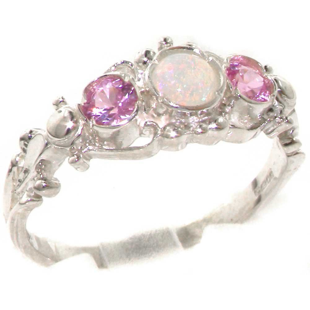 925 Solid Sterling Silver Natural Fiery Opal & Pink Tourmaline English Georgian style Trilogy Ring - Size 5.5 - Finger Sizes 4 to 12 Available - Perfect Gift for Mother, Wife, Grandmother, Grandma, Aunty