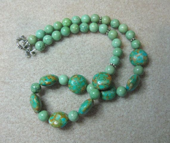 Beaded Necklace Mosaic Turquoise Green Magnesite