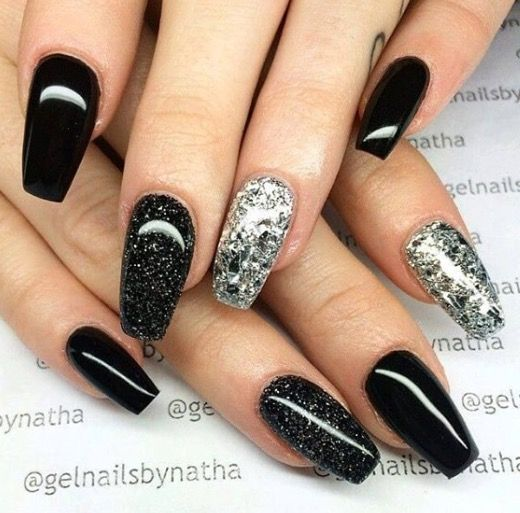 Black And Silver Nails Black Nails With Glitter Pretty Acrylic Nails Silver Nails