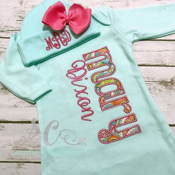 Coming Home Outfit Baby Gown Bow - Baby Girl Bring Home Outfit ...