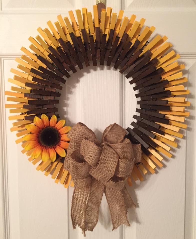 Sunflower Clothespin Wreath Clothes Pin Wreath Wreath