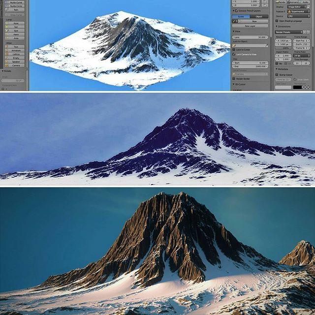 #3d #cgillustration #blender #blender3d #cycles #cyclesrender #mountain #wip #blenderlayout #photorealisticstyle #pixarstyle Image  4k resolution https://neozenitblog.files.wordpress.com/2017/01/montac3b1a4kp.jpg