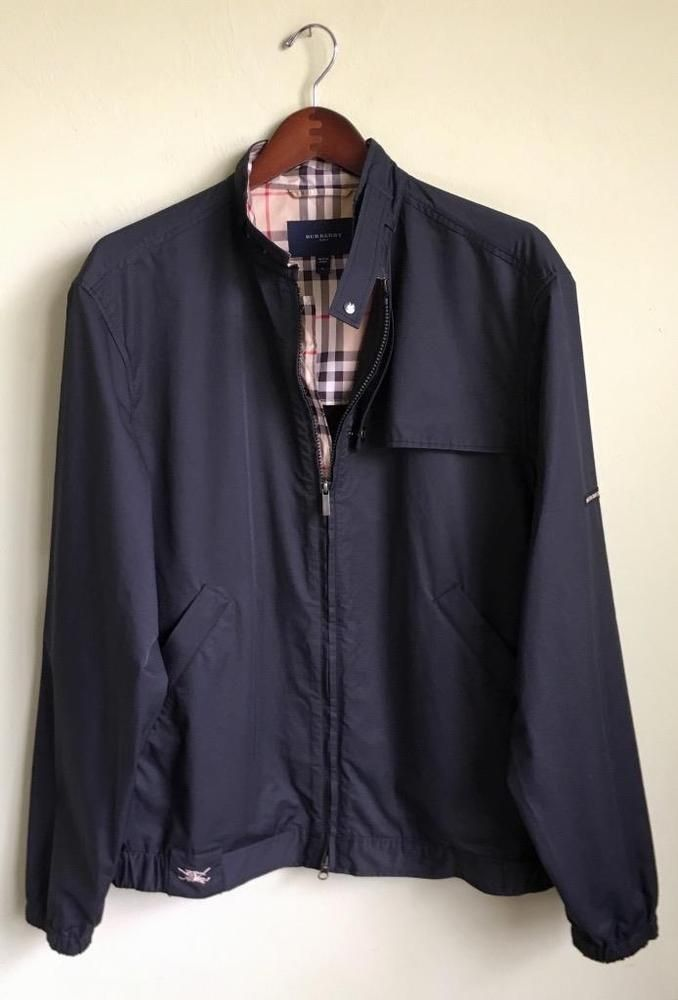 766fda3f6fa2d Burberry Golf Black Showerproof Breathable Nova Check Windbreaker Jacket  Size L
