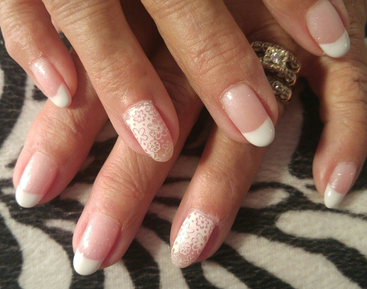 Summer floral design nails! French tip gel nails with stamped nail ...