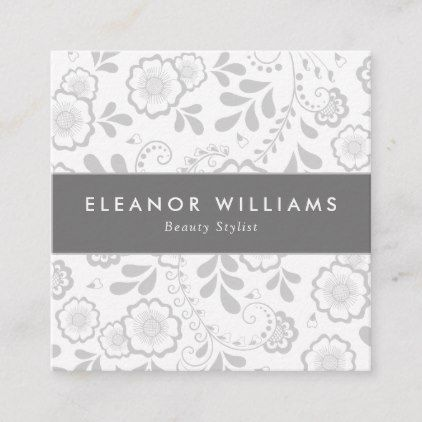 Modern Square White and Silver Floral Pattern Square Business Card |  Square White and Silver Floral Pattern Square Business Card -
