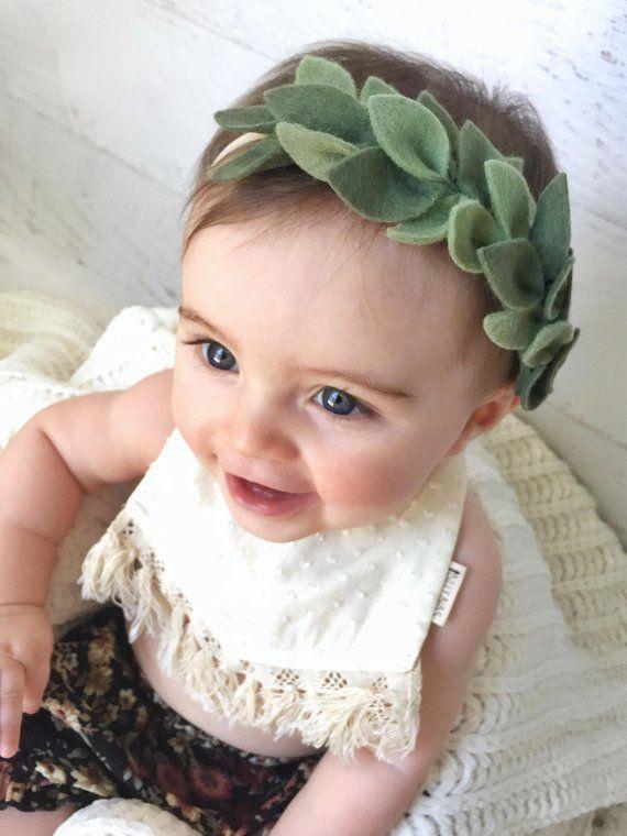 Korona zielonego liścia, pałąk na głowę, pałąk na głowę, Boho opaska dla niemowląt, Opaska do noworodka, pałąk wieniec, Opaska z kwiatu filcu, Zdjęcie wniosku #crownheadband