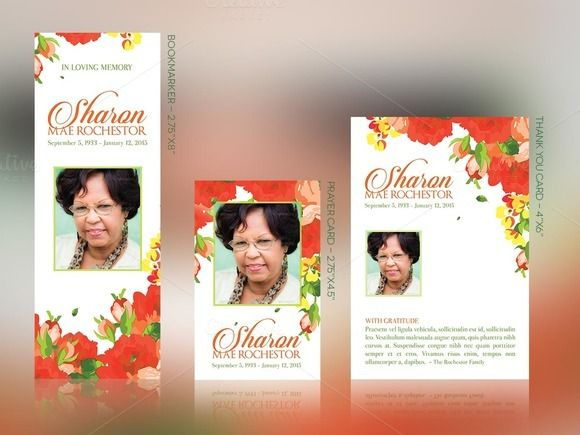 Orange Floral Funeral Stationery by @Graphicsauthor | Templates ...