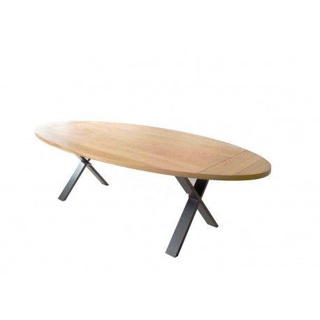 Table de salle manger cross ovale tables de salle a - Table ovale design pied central ...