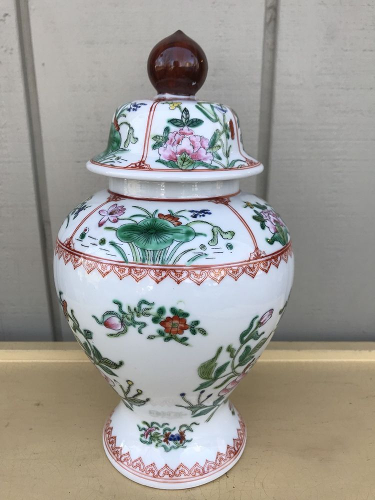 "11"" Tall Vintage Old Floral Ginger Jar w/ Lid Hand Painted In Hong ..."