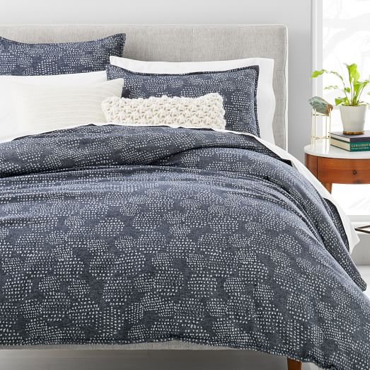 Organic Flannel Dotted Jacquard Duvet Cover Shams Duvet Covers Striped Duvet Covers Striped Duvet