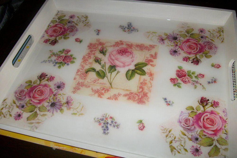 Grand plateau style anglais,bouquet de roses# 49 x 40 cm en 2020   Style anglais, Bouquet de ...