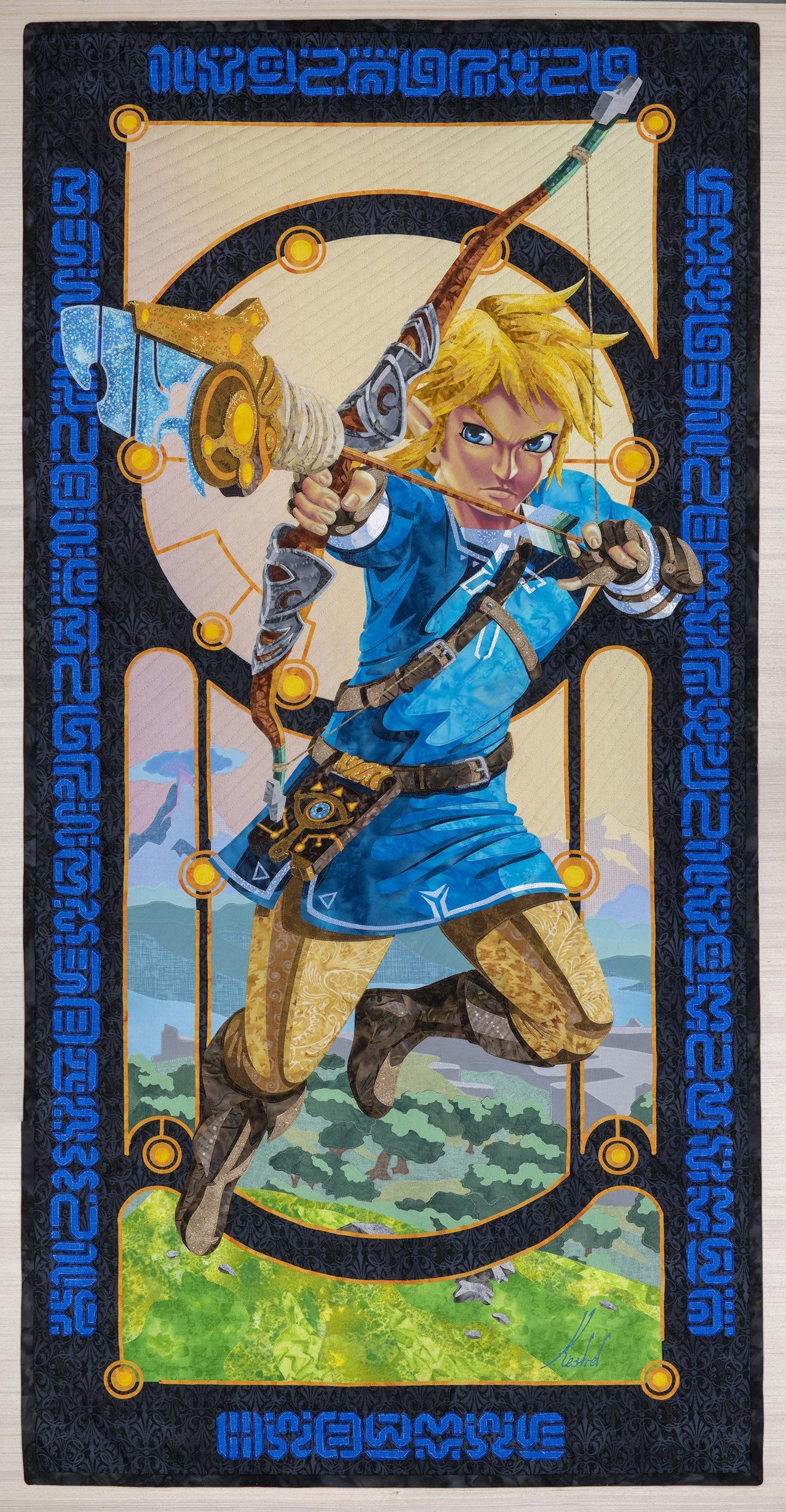 Art Quilt of Link from Breath of the Wild gaming Art