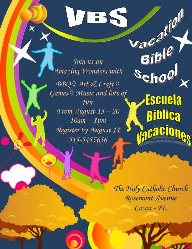 vacation bible school announcement flyer template marketing flyers pinterest flyer. Black Bedroom Furniture Sets. Home Design Ideas