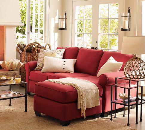 Buchanan Upholstered Sofa With Reversible Chaise Sectional Red Sofa Living Room Red Couch Living Room Living Room Red