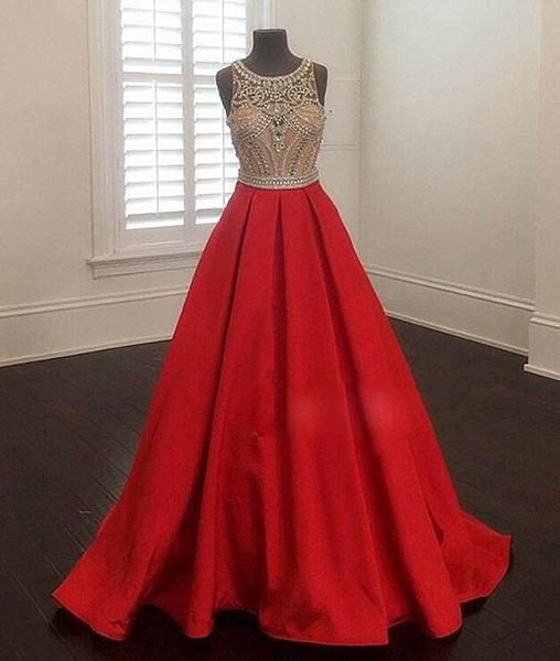 b1fd71a2560 2017 A-line round neck red satin beaded long prom dress