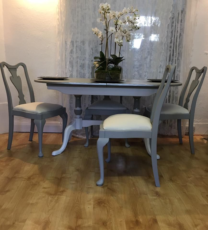 Queen anne style chalk painted dining set dining table for Dining room chairs queen anne