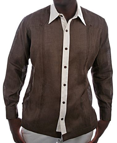 Guayabera Shirt Niels In Brown Linen Available More Colors Made Nyc