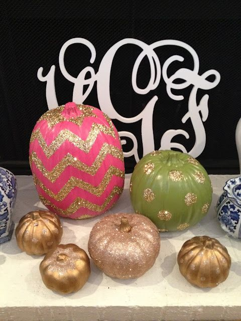 The cutest glitter pumpkins we ever did see using paint and Mod Podge from Kappa Prep!