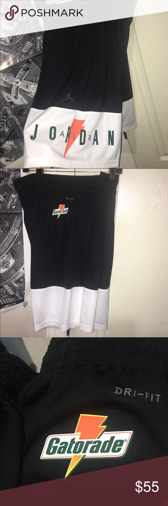 c4ed9df76a7 Jordan x Gatorade Shorts Black White Green Orange Air Jordan x Gatorade  Exclusive Dri Fit Shorts Size: Large or XXL (ask for your size) Brand New  With Tags ...