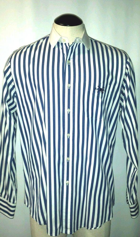 6bec8622c3a Polo Ralph Lauren RLPC Rhodes Custom Fit Mens Striped Dress Shirt 16 1 2 L   PoloRalphLauren