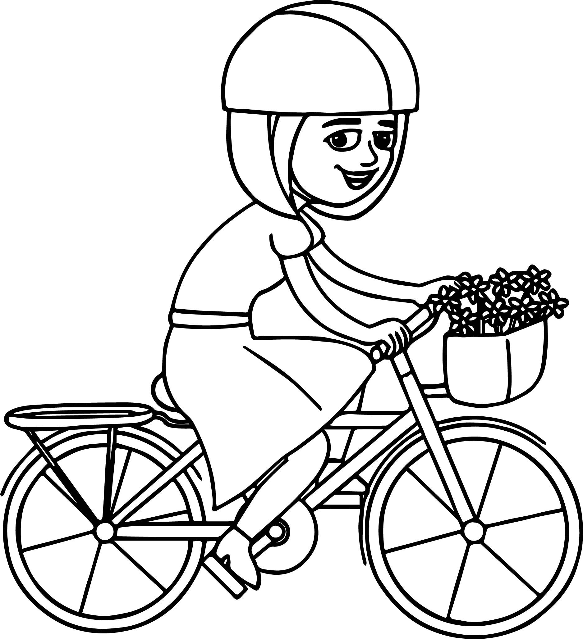 Cool Girl Riding Pink Bicycle With Basket Coloring Page Coloring