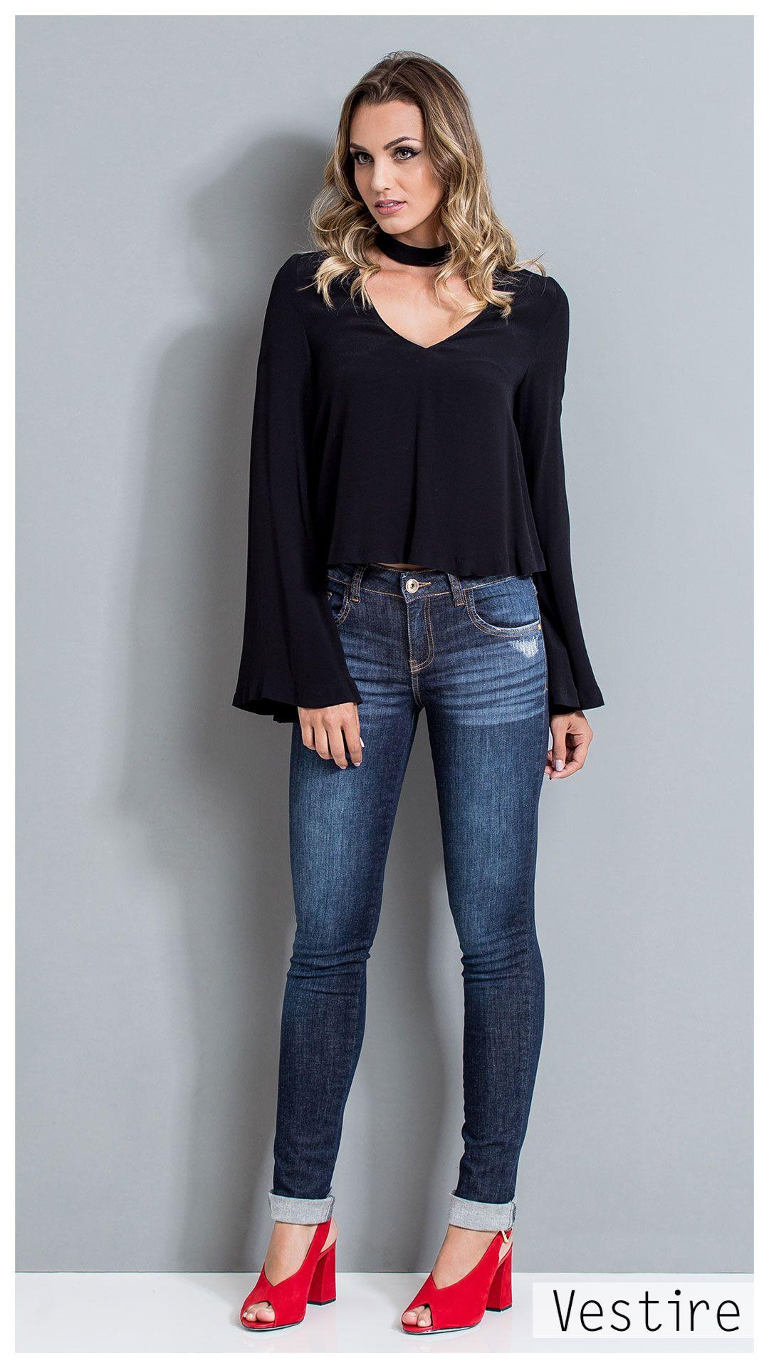 6278e68c7 Vestire Jeans Feminino. Calça Jeans reta com barra dobrada. Lavagem super  stone.