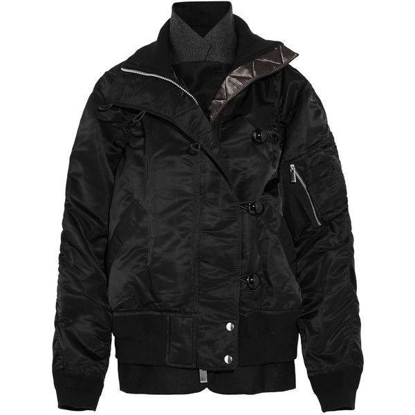 SacaiMa-1 Felt-paneled Shell Bomber Jacket (83.355 RUB) via Polyvore featuring outerwear, jackets, black, bomber jackets, style bomber jacket, layered jacket, sacai и flight jacket