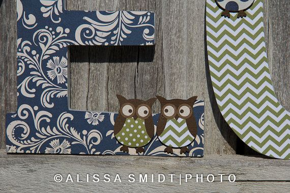 Owl Themed Letters for Baby Boy Nursery  by WanderlustbyAlissa, $12.00