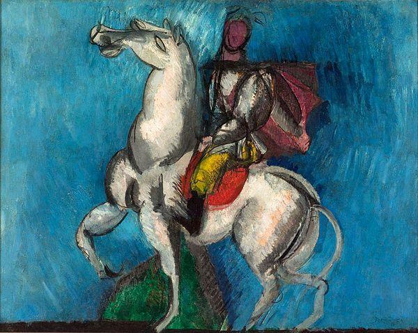 Raoul Dufy, 1914, Le Cavalier arabe (Le Cavalier blanc), oil on canvas, 66 x 81 cm, Musée d'Art Moderne de la Ville de Paris...jpg