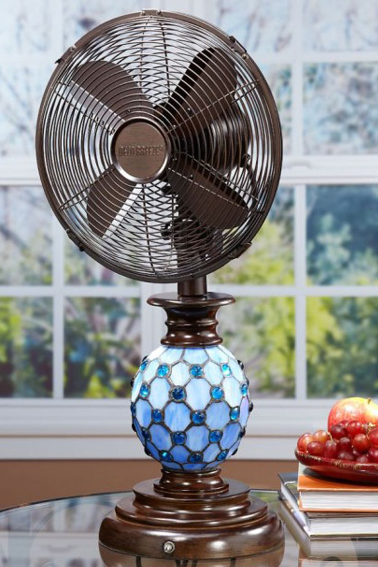 Deco Breeze Mosaic Glass Table Top Fan  Decorative and