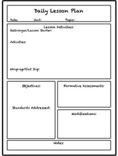 Lesson  Unit Plan Templates For Middle Or High School  Teach