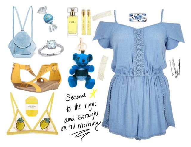 """""""Yellow and Blue"""" by alongcametwiggy ❤ liked on Polyvore featuring MANU Atelier, River Island, Lindt, Miadora, Estée Lauder, Perris Monte Carlo, Burberry, Kenneth Cole Reaction, Pelle and Casetify"""