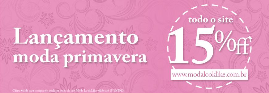 Banner para a home 15% off da loja virtual Moda Look Like. Acesse www.modalooklike.com.br