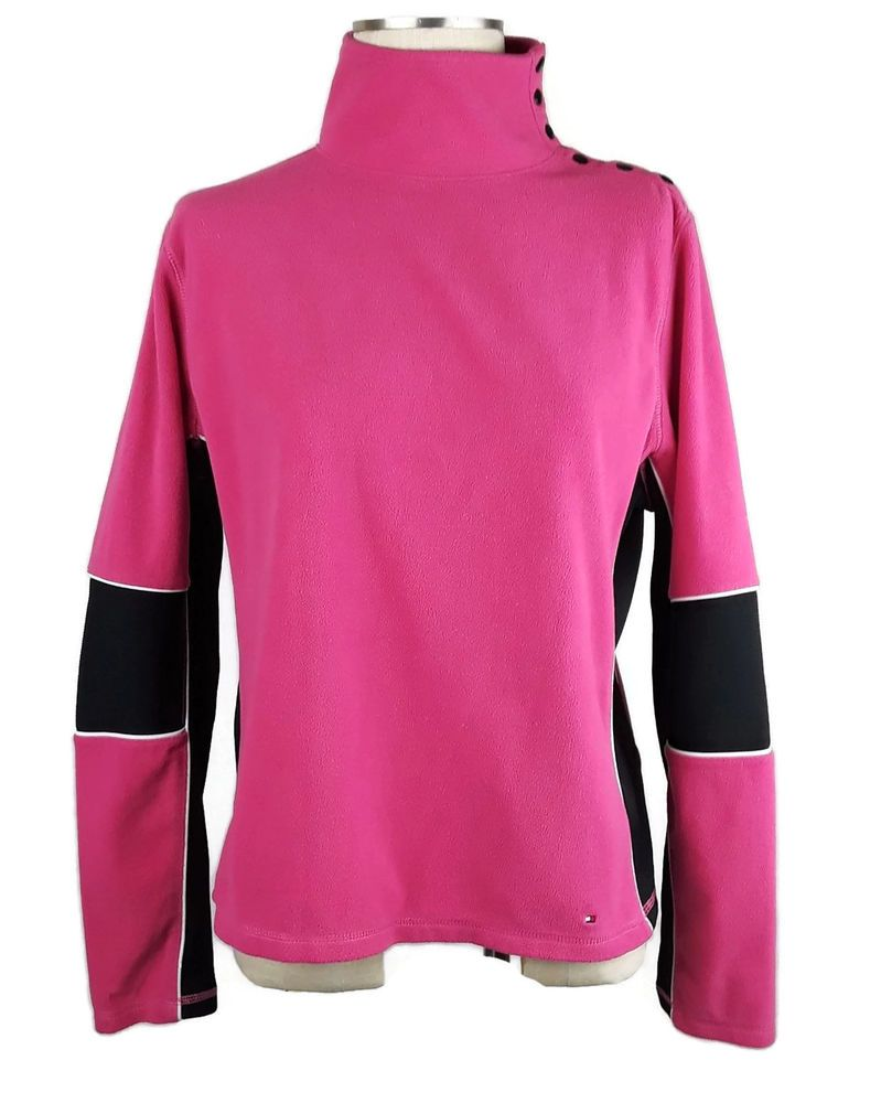 568f5e1be69b3 Tommy Hilfiger Top Womens XL Velour Pink White Black Snap Shoulder High  Collar