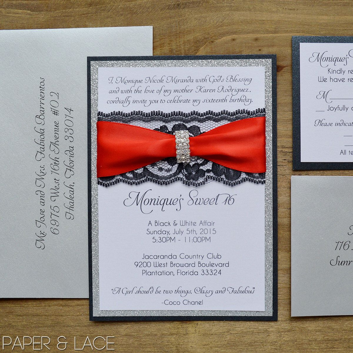 Black & Silver Glitter Sweet 16 Invitation with Black Lace and ...