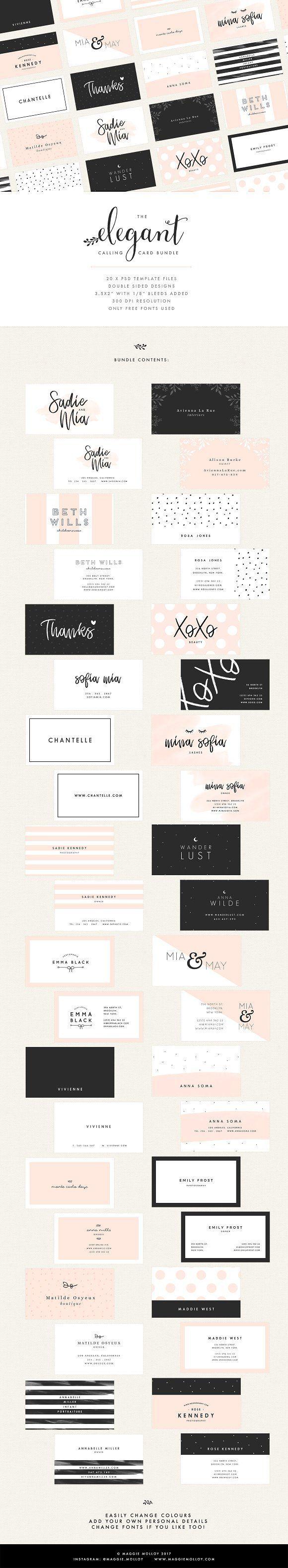 20 Feminine Business Card Templates | Pinterest | Card templates ...