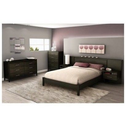 target gravity bedroom furniture collection wall length headboard with floating shelves - Target Bedroom Furniture