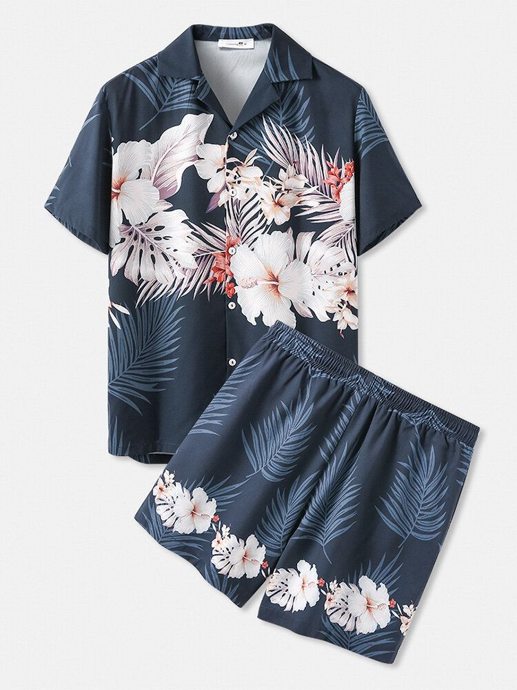 Tropical Floral Print Pattern Holiday Hawaii Outfits Two Pieces Loose Cozy Beachwear Sets for Men