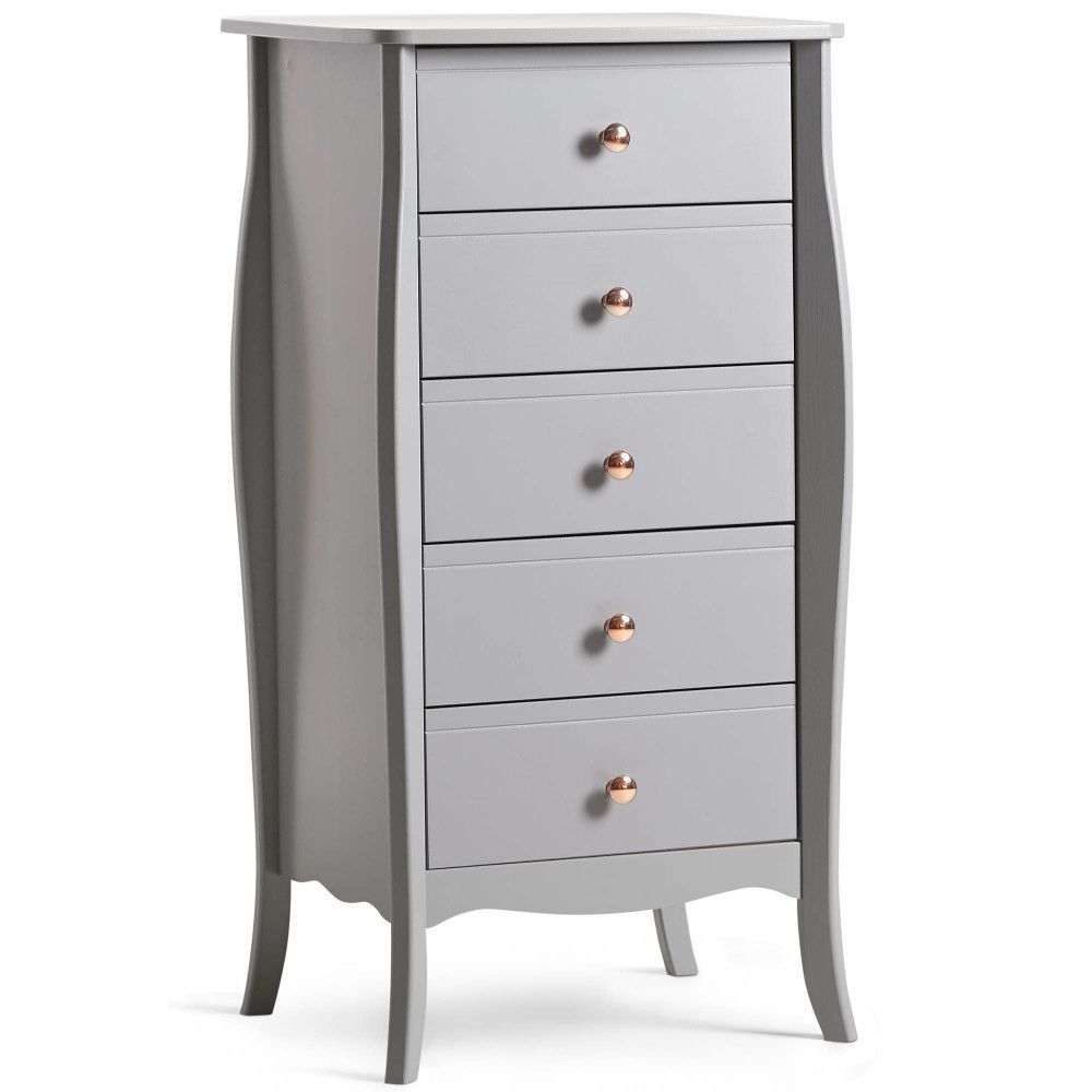 Drawer Chest Narrow Storage Unit Grey Finish Metal Wooden Bedroom