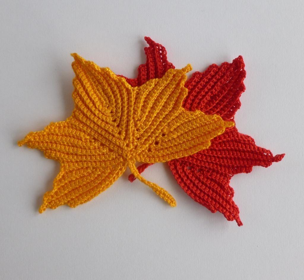 Maple leaf motifs. Irish crochet | Crochet bracelet pattern ...