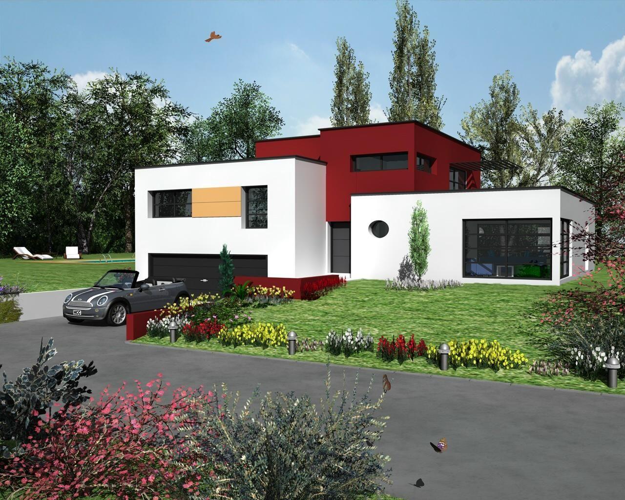 M laine design est un mod le de maison d architecte moderne cubique toit plat avec garage 2 for Maison architecte design