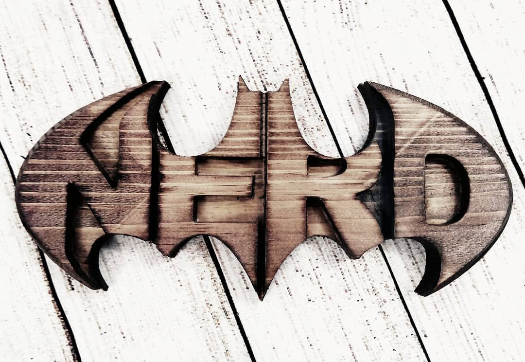 Batman nerd wood carved sign custom custom wood carved stuff