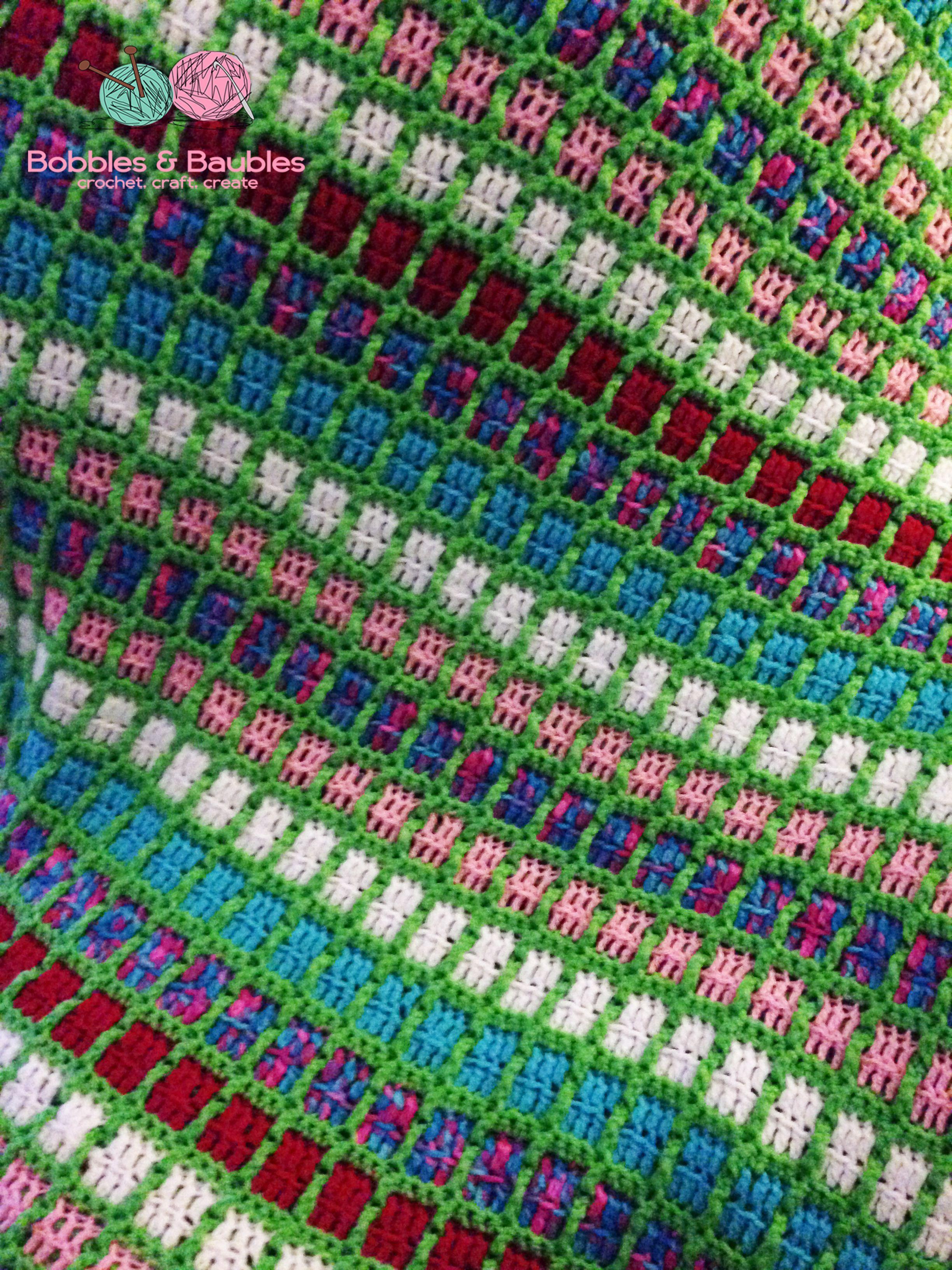 Easy Mindless Crochet Scrapghan Boxy Neon Afghan Bobbles