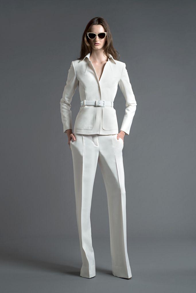 Love the structure of the blazer. Everyone should have a white suit. Alberta Ferretti