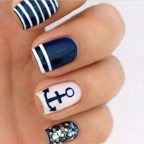 Sailors nail art. So beautiful.