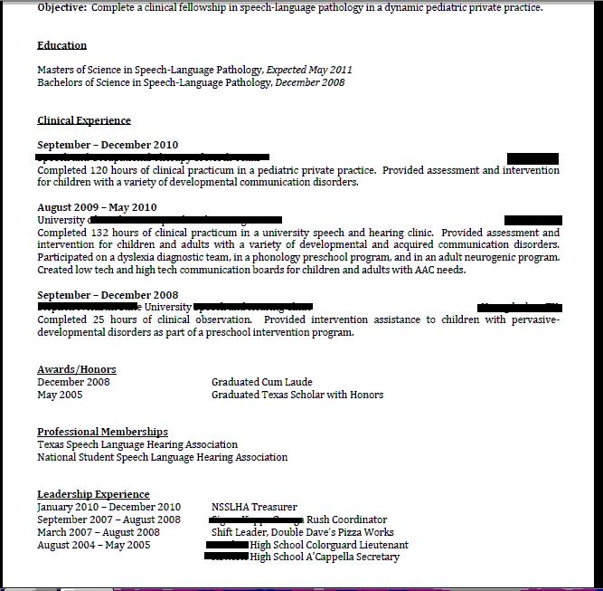 resume for speech language pathologist