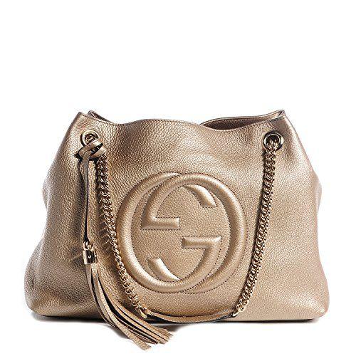 47080242 Gucci Soho Metallic Chain Medium Tote Golden Beige Leather New Bag ...